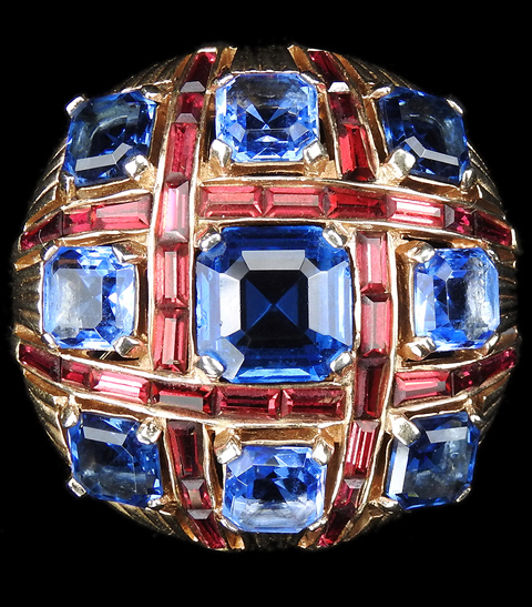 MB Boucher Sapphire, Blue Topaz and Ruby Baguettes Checkerboard Button Pin