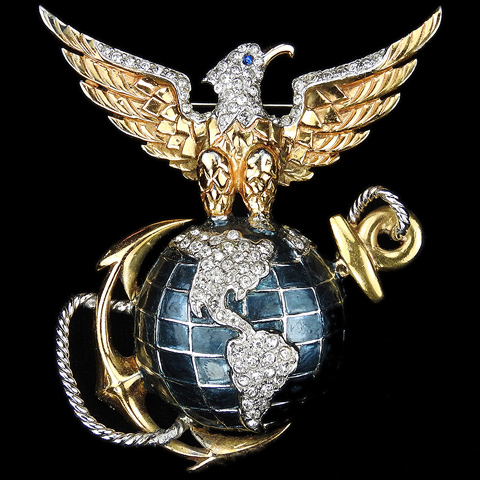 MB Boucher Gold Pave and Metallic Enamel WW2 US Patriotic US Marine Corps Insignia Pin