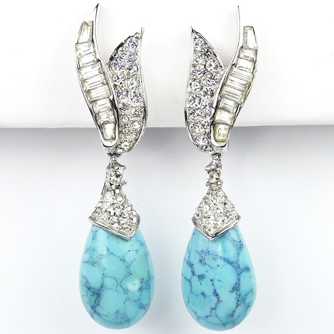 Boucher Pave and Baguette Leaves and Pendant Marbled Turquoise Drop Clip Earrings