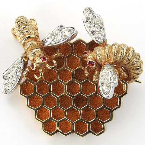 Boucher Gold and Pave Bees on a Honeycomb Hive Pin