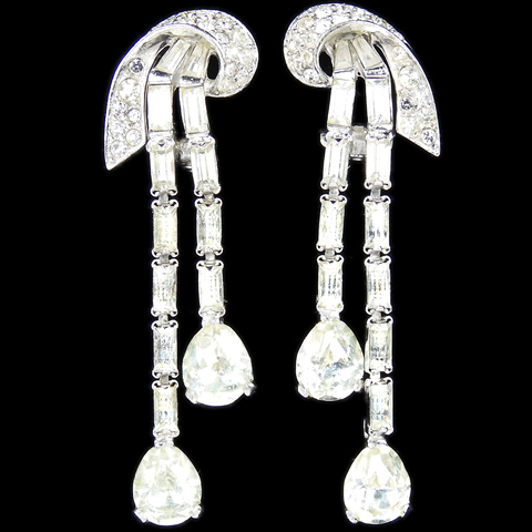 Boucher 'La Scala' Pave Baguette and Double Diamante Teadrop Pendant Clip Earrings