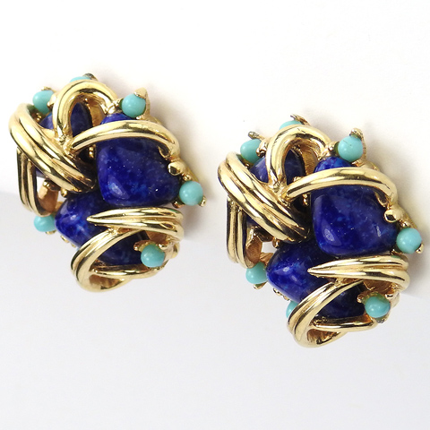 Boucher Golden Cage with Lapis Nuggets and Turquoise Cabochons Button Clip Earrings