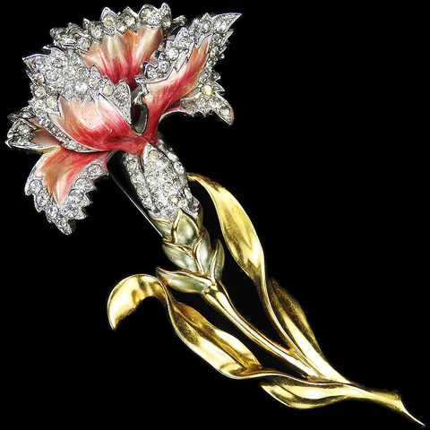MB Boucher Pave and Metallic Enamel Carnation Pin