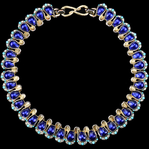 Boucher Gold Lapis and Turquoise Linked Swirls Choker Necklace