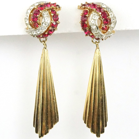Boucher Ruby and Diamante Swirl with Pendant Golden Sunrays Clip Earrings