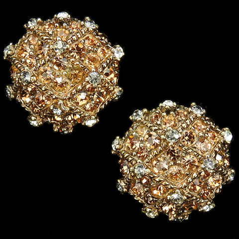 Boucher Le Couturier (after Joseph Mazer) Gold Citrine and Black Diamond Button Clip Earrings