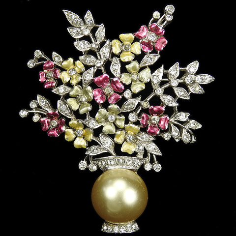 MB Boucher Pave Pearls and Pastel Metallic Enamel Flower Vase Pin