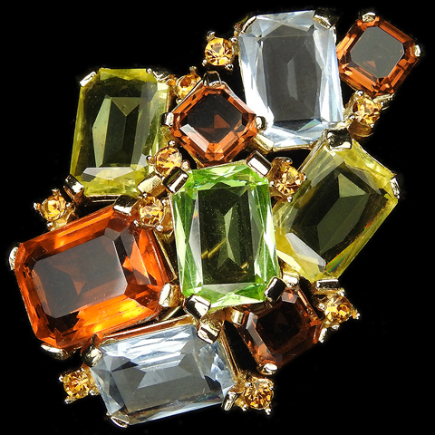 Boucher Topaz, Jonquil, Blue Topaz, Peridot and Multicolour Gemset Stones Pin