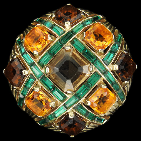 MB Boucher Gold, Citrine, Topaz and Emerald Baguettes Checkerboard Button Pin