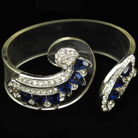 MB Boucher Pave Sapphires and Lucite Jelly Belly Cuff Bangle Bracelet