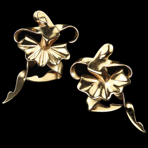 Boucher Sterling Made in Mexico Golden Ballerina Screw Back Earrings