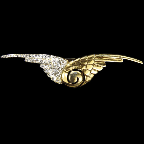 MB Boucher (unsigned) Sterling WW2 US Patriotic Gold and Pave Victory Wings Pin