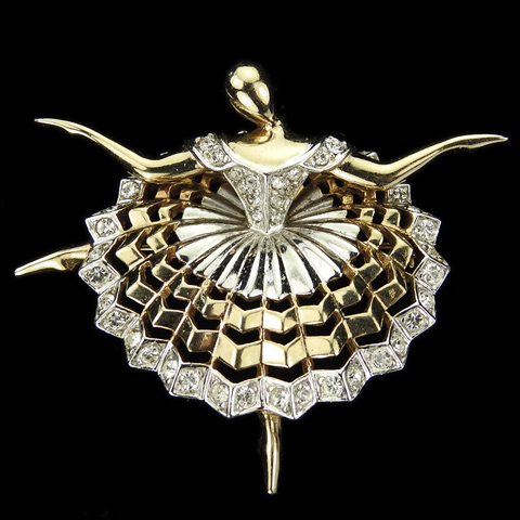 Boucher 'Ballet of Jewels' Gold and Pave 'Prima Ballerina' Pin