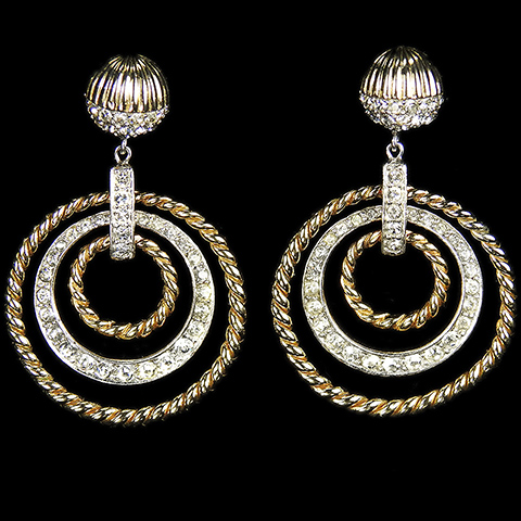 Boucher Gold Braids and Pave Hoops Trapeze Pendant Screwback Earrings
