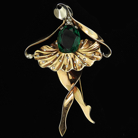 MB Sterling Gold and Emerald Ballerina in Spangled Tutu Ballet Dancer Pin
