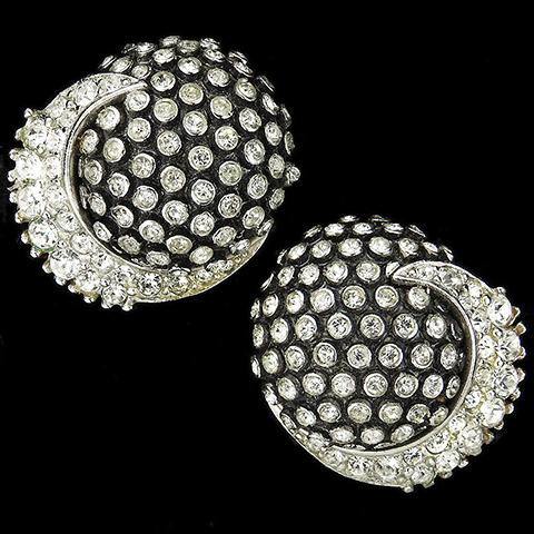 Boucher Black and Pave Spheres with Pave Swirls Clip Earrings