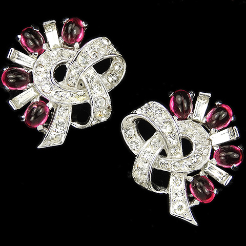 Boucher Pave Baguettes and Ruby Cabochons Bowknot Clip Earrings