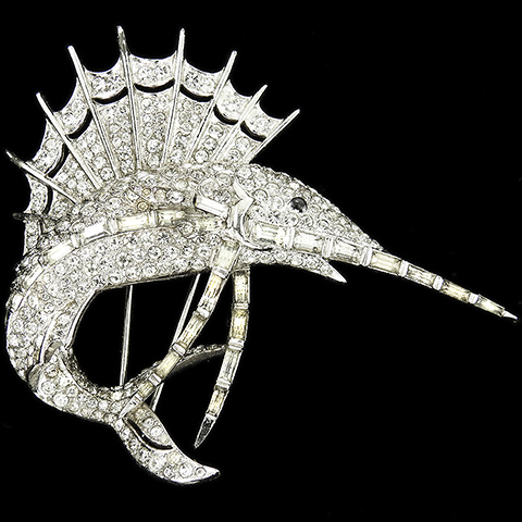 MB Boucher Pave and Baguettes Leaping Swordfish Pin Clip
