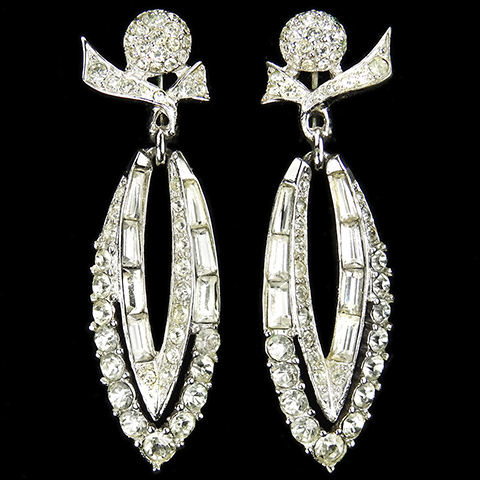 Boucher Pave and Baguettes Pointed Elipse Pendant Clip Earrings