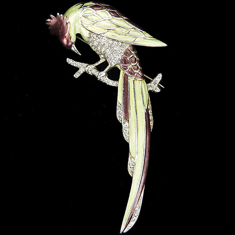 MB Boucher Metallic Enamel Perching Green and Violet Bird Pin