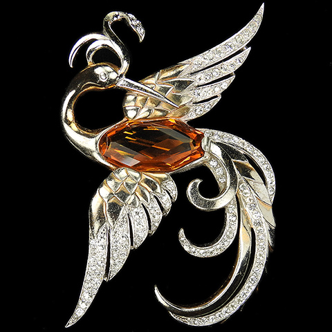 MB Boucher Gold Pave and Faceted Topaz Firebird or Bird of Paradise Pin