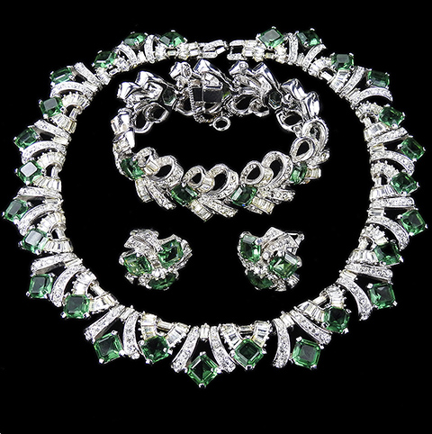 Boucher Square Cut Peridots and Diamante Baguette Bow Swirls Collar Necklace Bracelet and Button Clip Earrings Set