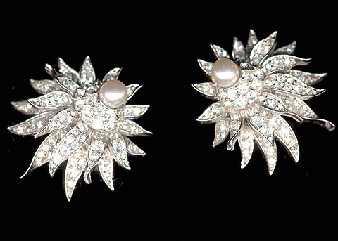 Boucher Pave and Pearls Star Flower Clip Earrings