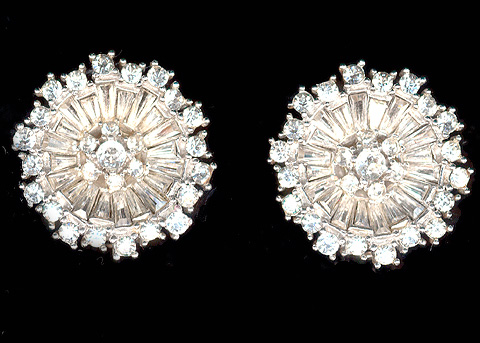 Boucher Diamond Baguette Flower Clip Earrings