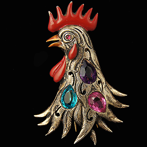 Sterling Enamel and Multicolour Stones Rooster's Head Pin Clip