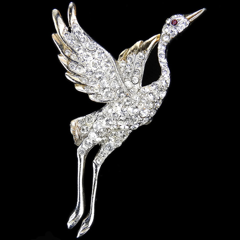 Gold and Pave Flying Crane Bird Pin