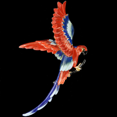 Gold and Blue and Red Enamel Giant Parrot on a Branch Pin