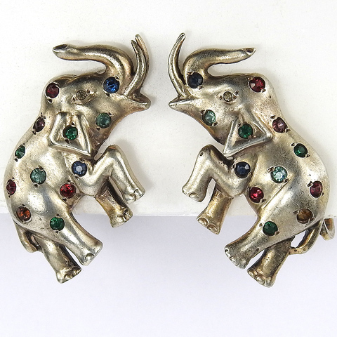 Deco Sterling Gold and Multicolour Spangles Trumpeting Elephant Screwback Earrings