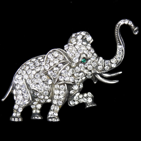 Deco Pave and Sterling Trumpeting Elephant Pin