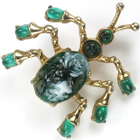 Gold and Emerald Poured Glass Bug Pin