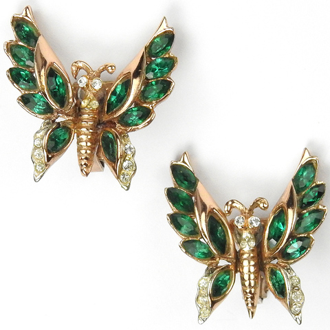 Gold and Emerald Butterfly Clip Earrings