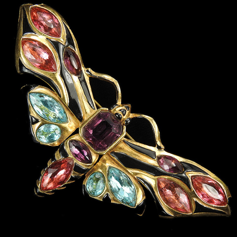 Deco Gold Multicolour Stones and Enamel Butterfly Pin
