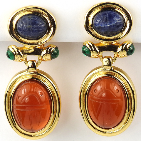 Gold and Carved Sodalite and Carnelian Crystal Scarabs Pendant Clip Earrings
