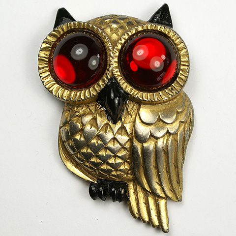 Silson (marked 'Regina') Gold Enamel and Ruby Cabochon Owl Pin Clip
