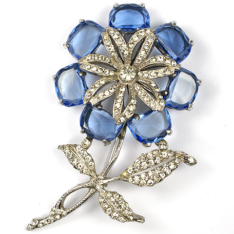 Reinad Pave and Sapphire Demilunes Giant Flower Pin