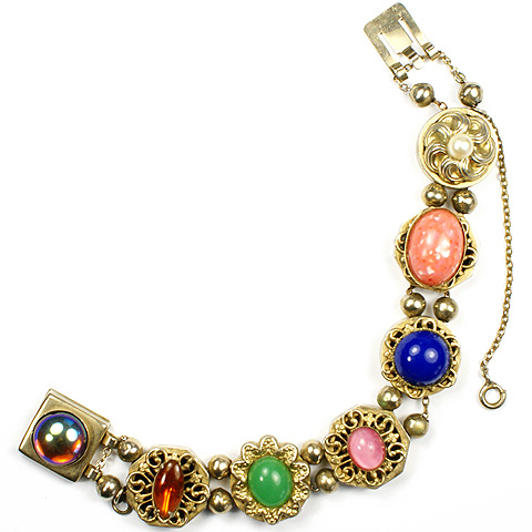 Reinad Gold Filigree and Multicolour Gems Link Bracelet