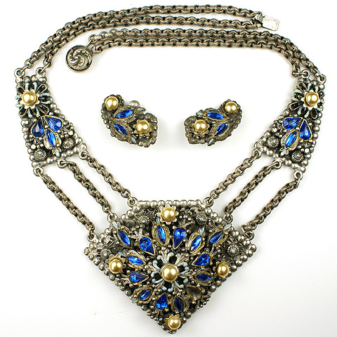 Alexander Korda 'Thief of Bagdad' Oriental Sapphire and Pearls Pendant Pentagon Necklace and Clip Earrings Set