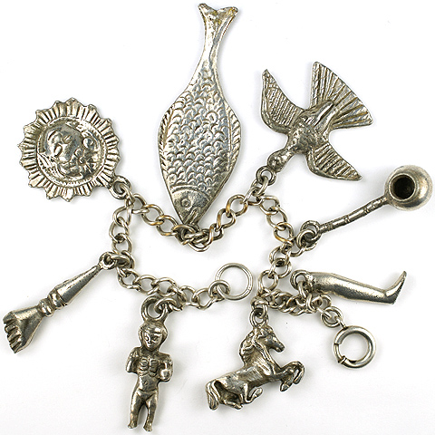 Silson Primitivist Figural Horse Boot Boy Bird Fish Arm and Peace Pipe Charm Bracelet