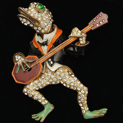 Staret Trembler Frog Playing a Hexagonal Banjo Pin
