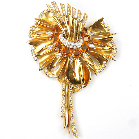 Reinad Giant Gold Pave and Citrine Lily Pin