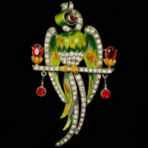 Staret Pave and Enamel Parrot on a Perch with Pendants Pin