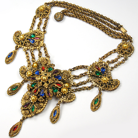 Alexander Korda 'Thief of Bagdad' Gold Pearls and Multicolour Stones Multiple Pendants Necklace
