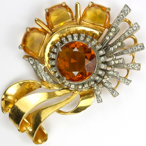 Reinad Deco Gold Pave and Citrines Swirl Pin