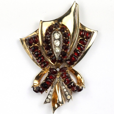 Eisenberg (unsigned) Sterling Gold and Ruby Bow Pin Clip