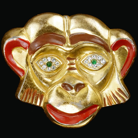 Silson (unsigned) Golden Monkey Face Pin