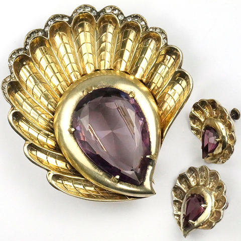 Eisenberg Original Sterling Gold and Teardrop Amethyst Seashell Pin Clip and Screwback Earrings Set